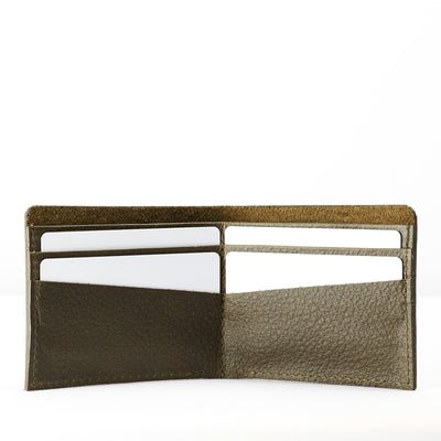 Open. Leather dark green slim wallet, minimalist bifold for mens gifts