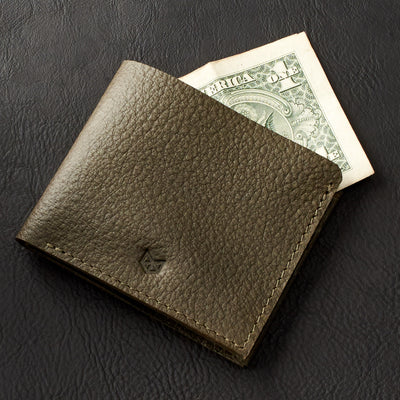Dolar and Euro bills size. Leather dark green slim wallet, minimalist bifold for mens gifts