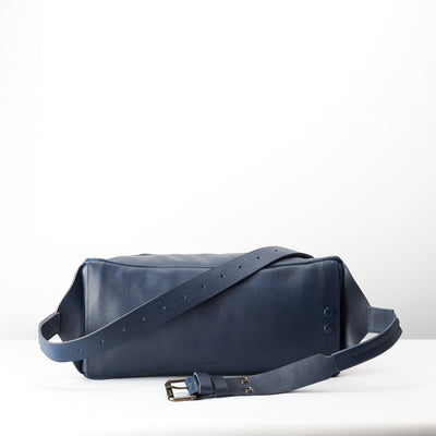 Back handmade bag. Fenek blue sling bag for men by Capra Leather. Belt bag for outdoors.