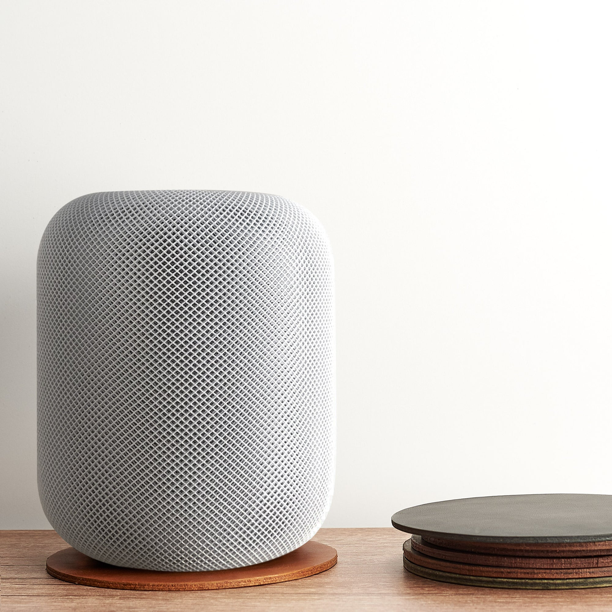 Leather homepod pad, protect wood surfaces from white rings, mens cowhide coasters for apple smart speaker