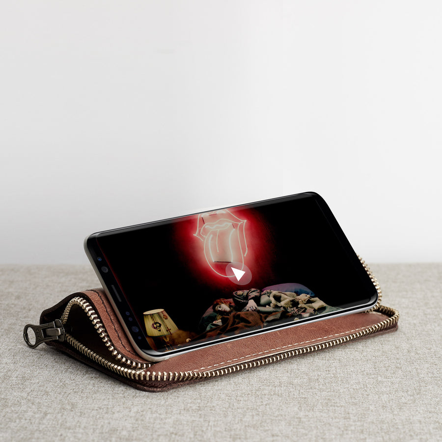 Samsung Galaxy Case Wallet Stand · Tobacco