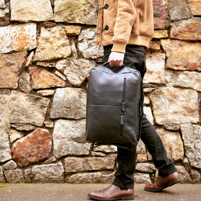 Urban Style. Black handmade leather messenger bag for men. Commuter bag, laptop leather bag by Capra Leather.