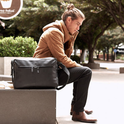 Street style. Black handmade leather messenger bag for men. Commuter bag, laptop leather bag by Capra Leather.