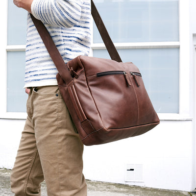 Style brown handmade leather messenger bag for men. Commuter bag, laptop leather bag by Capra Leather.
