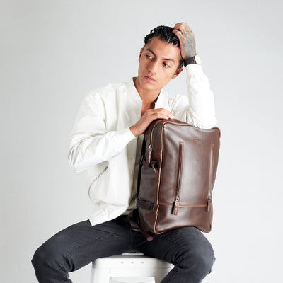 Style front view dark brown. Tamarao Backpack by Capra Leather.
