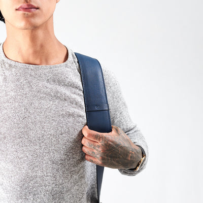 Strap detail. Banteng Ocean Blue Laptop Backpack for Men by Capra Leather