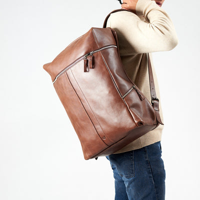 Style front view. Banteng Brown Laptop Backpack for Men by Capra Leather