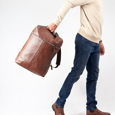 Floating front picture. Banteng Brown Laptop Backpack for Men by Capra Leather