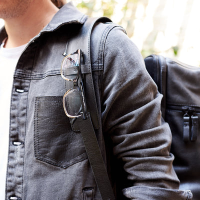 Glasses Holder. Banteng Black Laptop Backpack for Men by Capra Leather