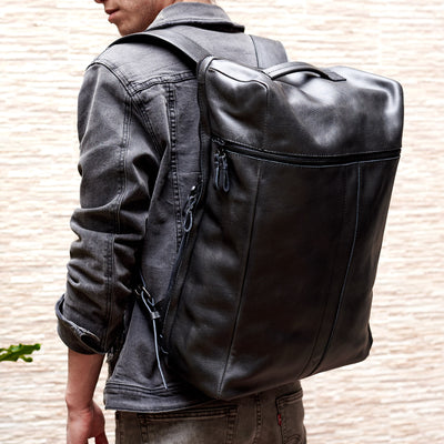 Size comparisson. Banteng Black Laptop Backpack for Men by Capra Leather