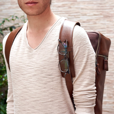 Glasses holder. Banteng Brown Laptop Backpack for Men by Capra Leather