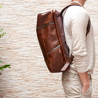 Side Style. Banteng Brown Laptop Backpack for Men by Capra Leather