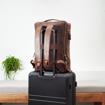 Trolly Strap. Banteng Brown Laptop Backpack for Men by Capra Leather