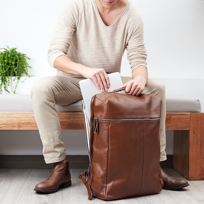 Laptop. Banteng Brown Laptop Backpack for Men by Capra Leather
