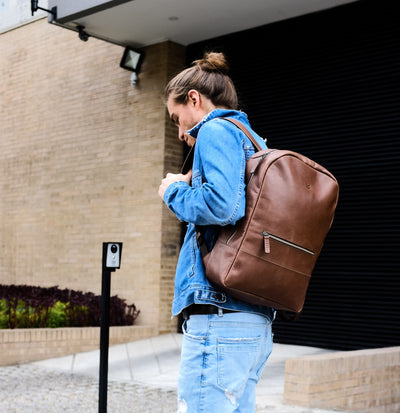 Style photo on the streets. Minimalist brown leather rucksack for mens gifts