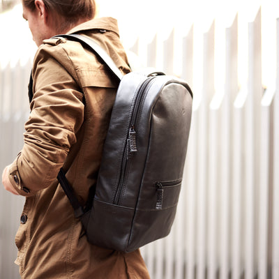 Outside style.  Black mens leather backpack. Personalized gifts for men