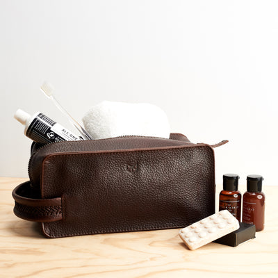 Toiletries. Dark Brown leather toiletry, shaving bag with hand stitched handle. Groomsmen gifts