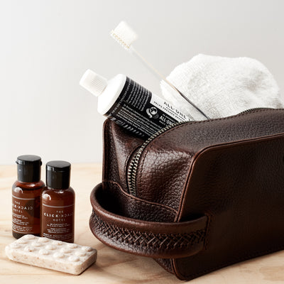 Style. Dark Brown leather toiletry, shaving bag with hand stitched handle. Groomsmen gifts