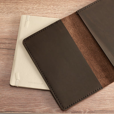 Office style.  Entirely hand stitched Moleskine Large and Pocket leather cover. Traveler's journal case. Customize your notebook with our handmade case.