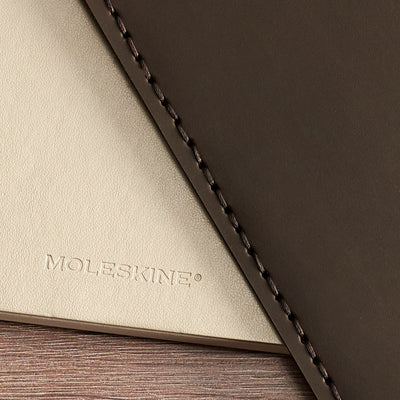 Detail. Entirely hand stitched Moleskine Large and Pocket leather cover. Traveler's journal case. Customize your notebook with our handmade case.