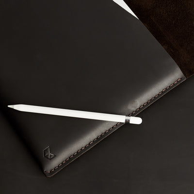 Style photo with apple pencil. Brown leather iPad 12.9 case for men