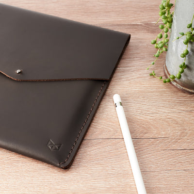 Office style. Marron hand stitched iPad pro leather sleeve. iPad cover, iPad protector, hand stitched cases for men