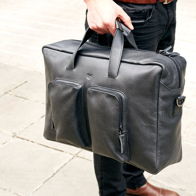 Style black handmade leather messenger bag for men. Commuter bag, laptop leather bag by Capra Leather.
