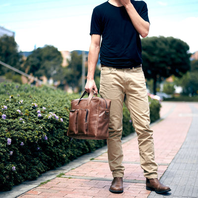 Urban style. Brown handmade leather messenger bag for men. Commuter bag, designer satchel mens bag