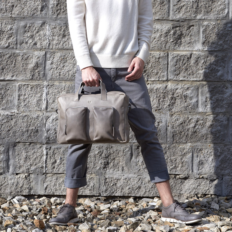 Front view. Grey handmade leather messenger bag for Men by Capra Leather. Commuter bag, mens weekender bag.