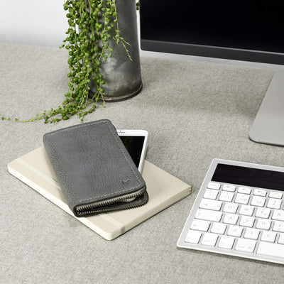 Style. Grey leather case stand wallet for men. iPhone x, iPhone 10, iPhone 8 plus leather stand sleeve