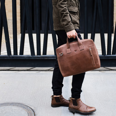 Urban style. Brown soft leather briefcase. Designer mens satchel