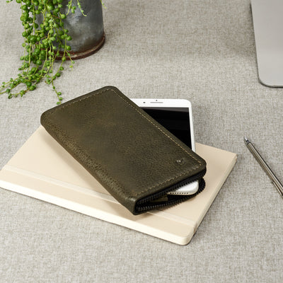 Hands free stand. Green iPhone leather wallet stand case for mens gifts. iPhone x, iPhone 10, iPhone 8 plus leather stand sleeve