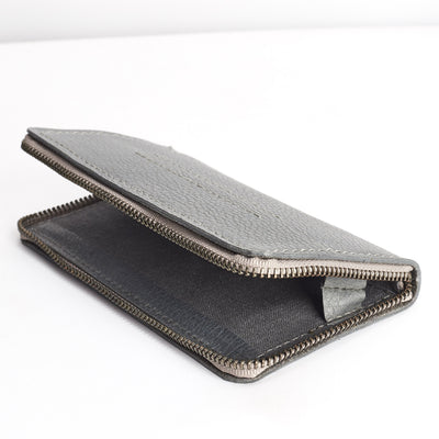 Linen interior detail. Grey iPhone leather wallet stand case for mens gifts. iPhone x, iPhone 10, iPhone 8 plus leather stand sleeve