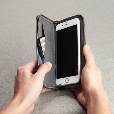 Style photo. Grey leather case stand wallet for men. iPhone x, iPhone 10, iPhone 8 plus leather stand sleeve