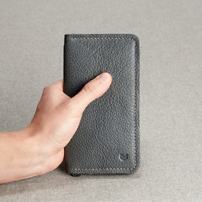Style. Grey iPhone leather wallet stand case for mens gifts. iPhone x, iPhone 10, iPhone 8 plus leather stand sleeve