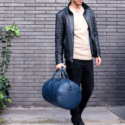 Style. Blue leather shoulder bag for mens gifts. Work out duffle bag