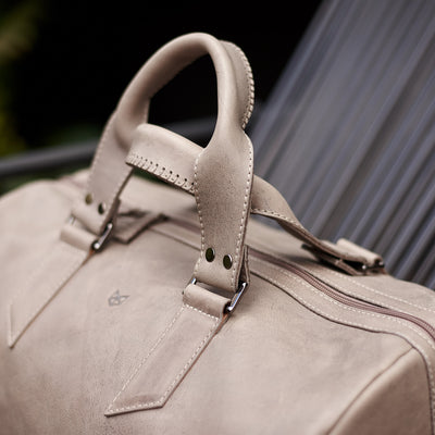 Style. handcrafted Grey leather duffle bag for men. Grey leather carryall bag.
