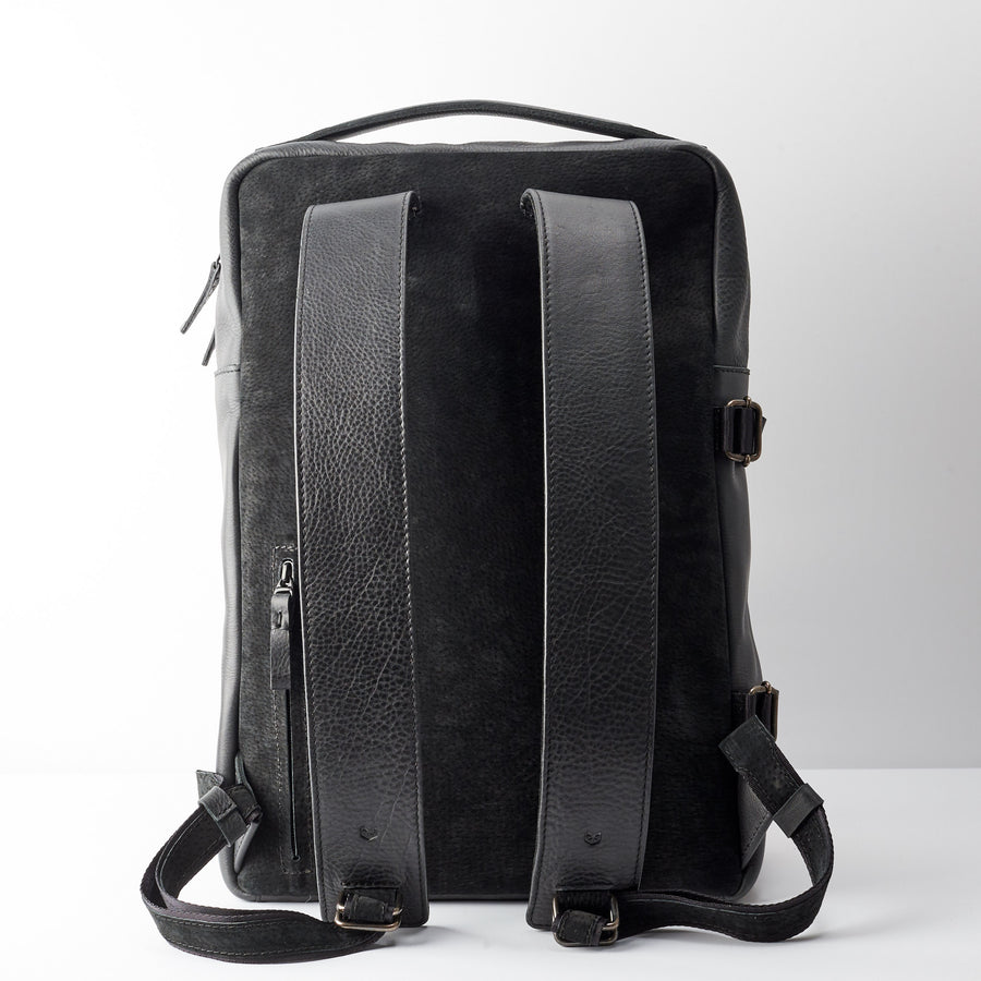 Unique black leather backpack for men. Custom full grain leather rucksack 91304b0d8c9e7