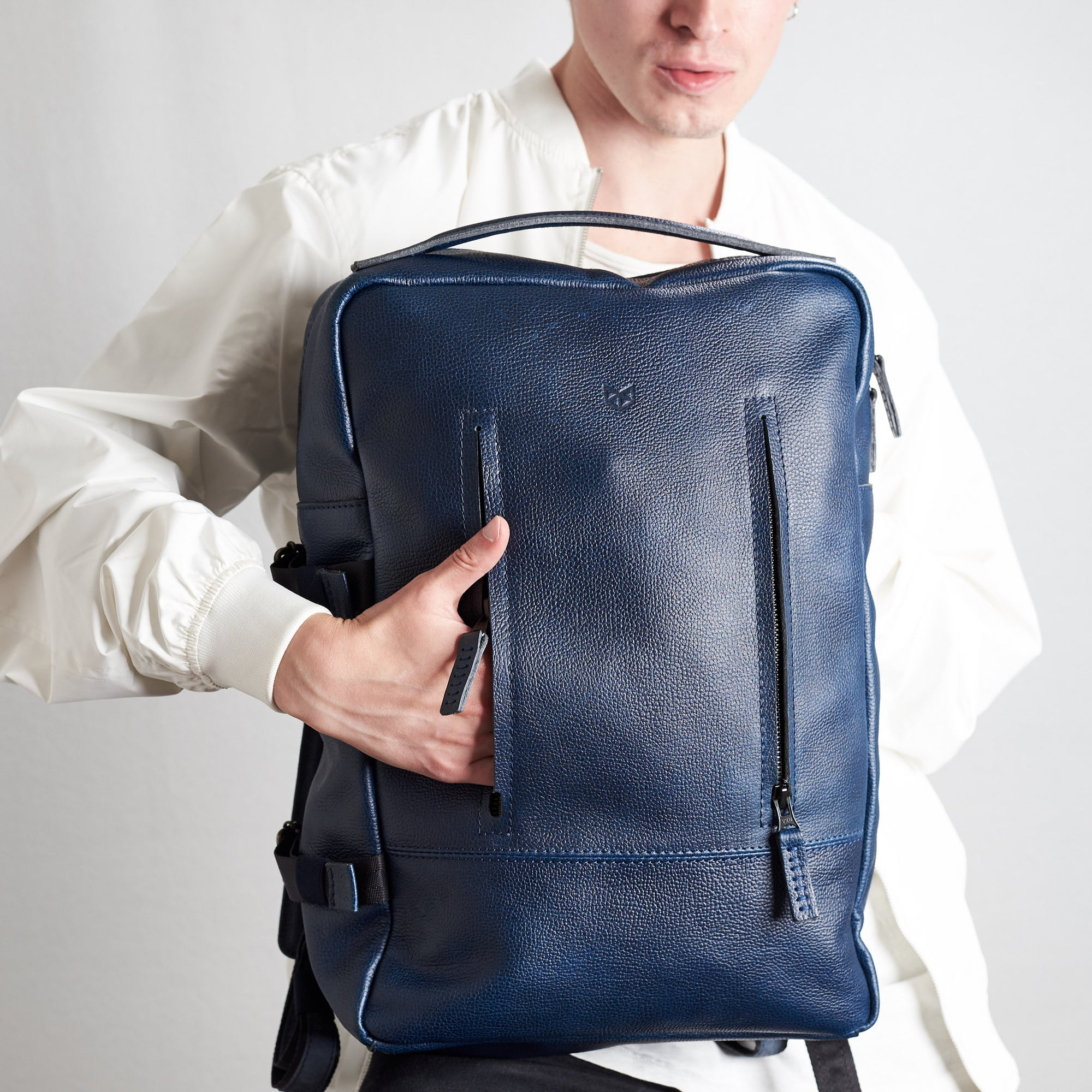 Cover. Ocean blue handmade full grain leather rucksack. Office style bag. Made by Capra Leather