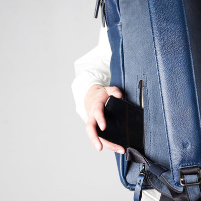 Style celphone detail in back pocket. Tamarao blue backpack by Capra Leather.