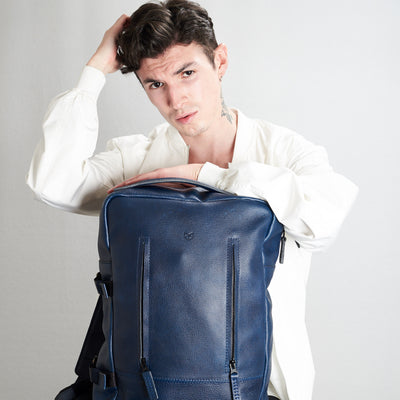 Front view style picture. Tamarao blue backpack by Capra Leather.
