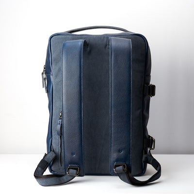 Back. Ocean blue handmade full grain leather rucksack. Office style bag. Made by Capra Leather