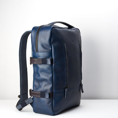 Side. Ocean blue handmade full grain leather rucksack. Office style bag. Made by Capra Leather