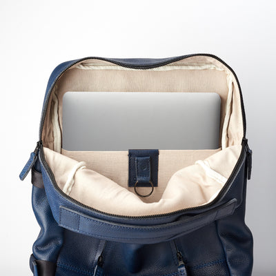 Computer pocket. Ocean blue handmade full grain leather rucksack. Office style bag. Made by Capra Leather