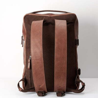 Padded shoulder straps. Brown Leather Backpack. Back to school mens bag