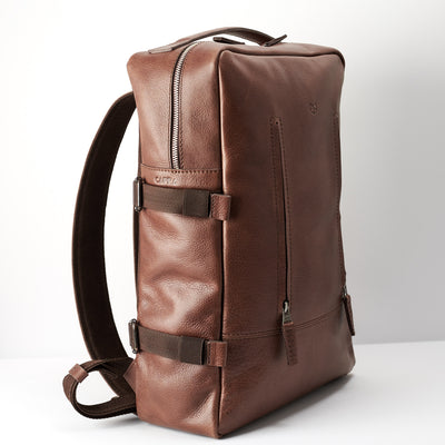 Angle. Brown leather backpack for mens gifts. Custom monogram for leather backpacks