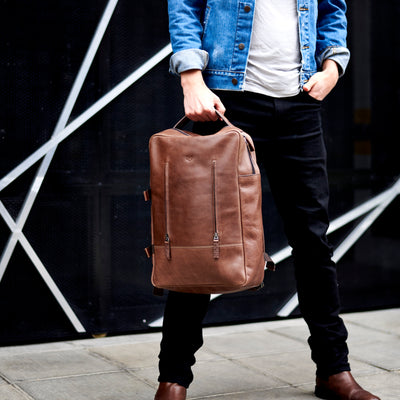 Urban Style. Brown leather Tamarao rucksack for men. Fashion mens leather bags