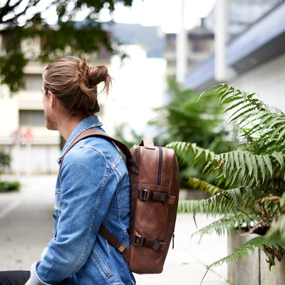 Urban Style. Street Style. Brown leather Tamarao rucksack for men. Office style unique backpack