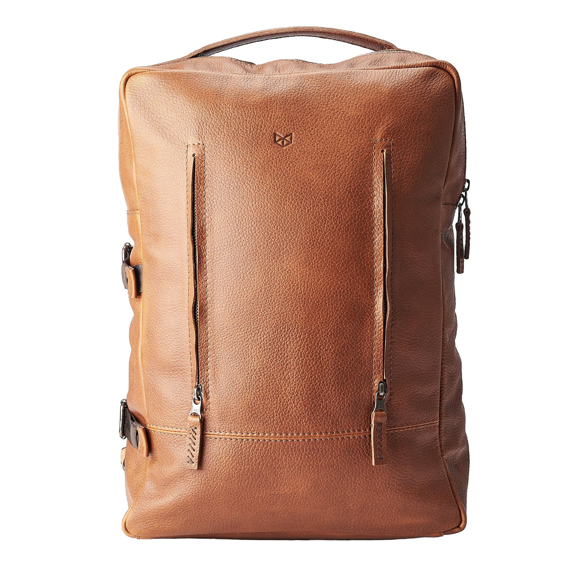 Tan leather laptop travel backpack for men by Capra Leather