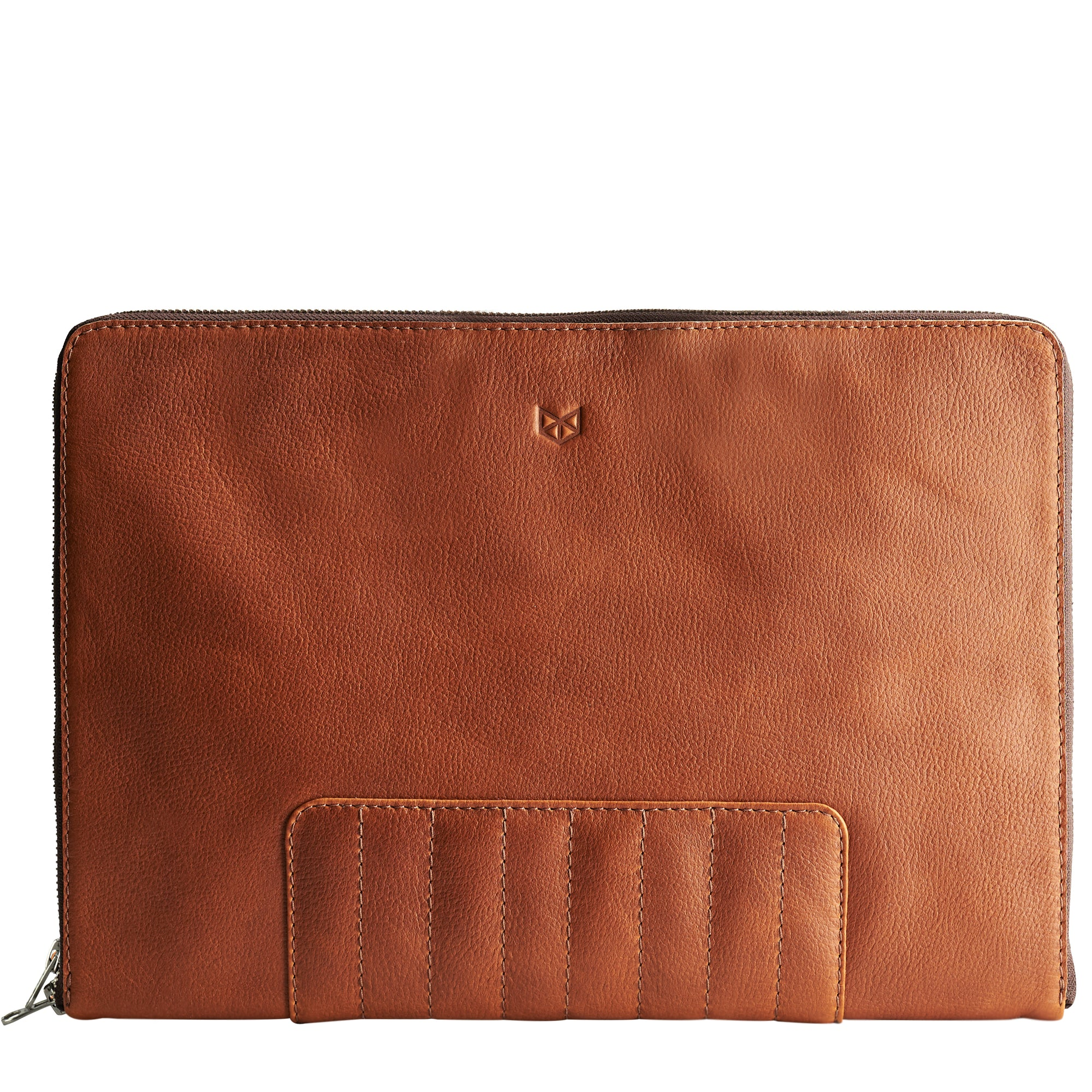 Cover. Tan laptop portfolio. Business document organizer for men.